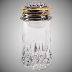 Vintage Salt Shaker - Single Glass Shaker with Brass and Glass Lid