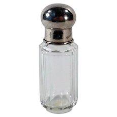 Vintage Perfume Bottle – Simple Clear Crystal Bottle with Metal Screw on Cap