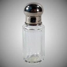 Vintage Perfume Bottle – Simple Clear Crystal Bottle with Metal Screw on Cap