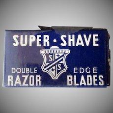 Vintage Razor Blades - Super-Shave Blade Box with Derby Blue Steel Blades