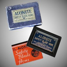 Vintage Safety Razor Blade Hone - Aloxite #45 with Original Box