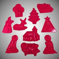Vintage HRM Cookie Cutters - Group of Ten Christmas Cutters including Manger Figures