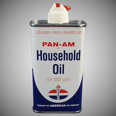 Vintage Oil Tin -  American Oil Co. Pan-Am Household Oil Tin