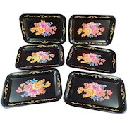 Set of Six Vintage Transfer Toleware Trays – Small Size – Colorful Floral Design