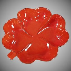 Vintage Frankoma Pottery - Four Leaf Clover Dish - Colorful Red Orange Flame Glaze