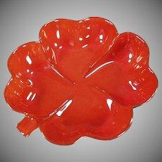 Vintage Frankoma Pottery - Four Leaf Clover Dish - Colorful Red Orange Flame Glaze