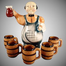 Vintage Liquor Decanter with Matching Mugs - Happy Bartender with Five Mugs