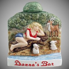 Vintage Ceramic Flask Advertising Donna's Bar - Wells, Nevada - Dug Decanter