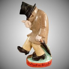 Vintage Shafer and Vater Figural Flask - What a Night - Drunk Nip