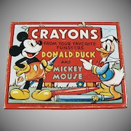 Vintage Mickey Mouse and Donald Duck Crayon Tin Box