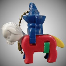 Vintage Dexterity Puzzle Key Chain - Donkey and Rider with Sombrero