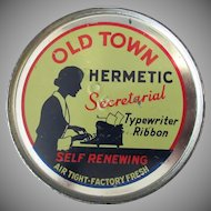 Vintage Typewriter Ribbon Tin - Keywind Old Town Hermetic with Secretary