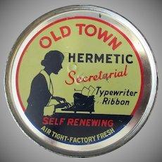 Vintage Typewriter Ribbon Tin - Keywind Old Town Hermetic with Secretary