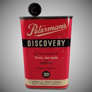 Vintage Advertising Tin - Peterman's Discovery Poison for Bed Bugs and Roaches