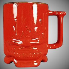 Vintage Frankoma Pottery - Road Runner Mug in Red Orange Flame Glaze