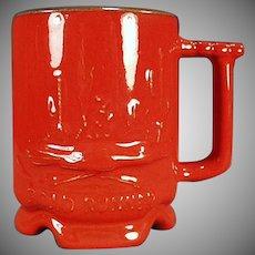 Vintage Frankoma Pottery - Road Runner Mug in Red Orange Flame Glaze