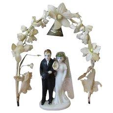 Vintage Wedding Bride & Groom Cake Topper with Flower Arch