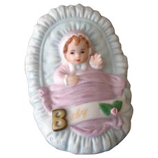 Vintage Enesco Baby in a Basket Figurine 1987 – Darling Baby Shower Gift