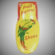 Vintage Tin Advertising Clicker - Tin Poll Parrot Shoes Advertising Noise Maker