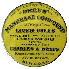 Vintage Drefs' Mandrake Compound Liver Pills Tin – Old Medical Advertising