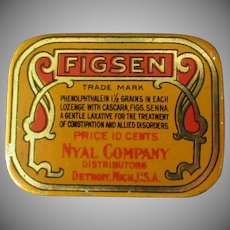 Vintage Medicine Tin –Figsen Laxative – Old Medical Advertising