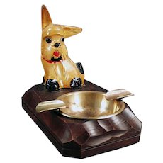 Vintage Mid Century Whimsy Ashtray - Carved Wood Dog
