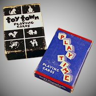 Vintage Playing Cards - 2 Miniature Decks with Original Boxes