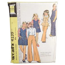 Vintage McCall's #4139 Carefree Pattern - 1974 Children's Fashions - Size 12