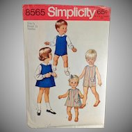 #8565 Vintage 1969 Simplicity Pattern - Toddler - Suit, Dress or Jumper & Blouses