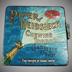 Vintage Piper Heidsieck Champagne Tobacco Tin - Fun and Colorful Graphics