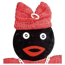 Vintage Black Mammy - Fun Old Wall Hanging with Crocheted Clothes