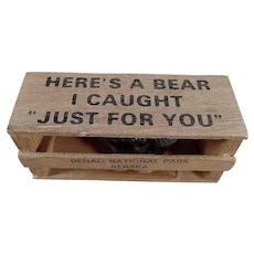 Vintage Bear in a Crate Souvenir Mailer - Denali National Park, Alaska