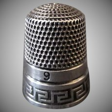 Vintage Sterling Thimble – Greek Key Design - Simons Brothers Size 9
