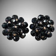 Vintage Costume Jewelry - Laguna Clip Earrings - Black Bead Clusters
