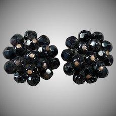 Vintage Costume Jewelry - Laguna Clip Earrings - Black Bead Clusters