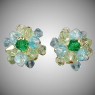 Vintage Costume Jewelry - Clip Earrings - Blue and Green Glass Beads - Germany