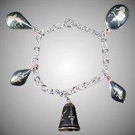 Vintage Siam Charm Bracelet - Niello Bracelet with 5 Baubles in Different Shapes