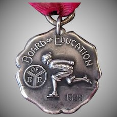 Vintage Sterling Silver Ice Skating Medal – 1928 – Beautiful Detail