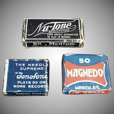 Vintage Steel Phonograph Needles - Three Assorted Boxes
