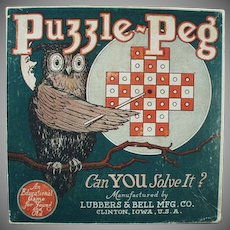 Vintage Toy Box - Puzzle Peg Game Box with Nice Owl Graphics
