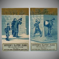 Vintage Trade Cards  2 in Blue - Button's Raven Gloss - Mischievous Boys
