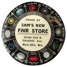 Vintage Celluloid Advertising Mirror -  Birthstone Chart – Sam's New Fair Store
