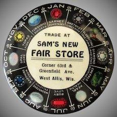 Vintage Celluloid Advertising Mirror -  Birthstone Chart – Sam's New Fair Store