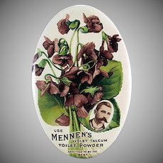 Vintage Celluloid Advertising Mirror - Colorful Mennen's Violet Talc