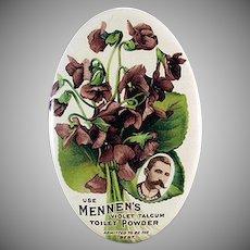 Vintage Celluloid Advertising Mirror - Colorful Mennen's Violet Talc