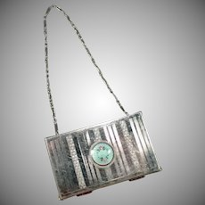 Vintage Compact with Guilloche – Vanity Case Dance Compact with Wrist Chain