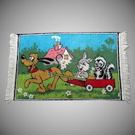 Child's Vintage Rug with Disney's Pluto, Thumper and Flower – Bright & Colorful