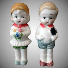Vintage Bisque Boy and Girl Dolls - Japan