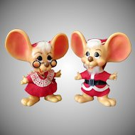 "Vintage Mr. & Mrs. Santa Mouse Bank Dolls – 10"" Size – All Original"