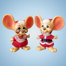 """Vintage Mr. & Mrs. Santa Mouse Bank Dolls – 10"""" Size – All Original"""